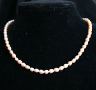 5mm Pink Oval Freshwater Cultured Pearl Necklace with Silver Clasp